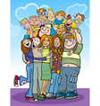 cartoon teenagers group vector image vector image