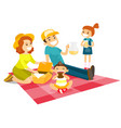 caucasian white family having a picnic in the park vector image vector image