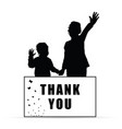 children with card thank you vector image