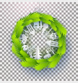 christmas decorated green paper wreath vector image vector image