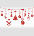 christmas red ornaments hanging merry christmas vector image vector image
