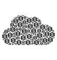 cloud figure of financial settings gear icons vector image