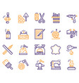 craft and handmade color icon set hobbies work vector image