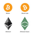 cryptocurrency money set vector image vector image
