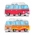 cute travel bus icons colorful vector image