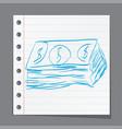 dollar cash money icon hand drawing cartoon sketch vector image