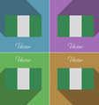 Flags Nigeria Set of colors flat design and long vector image