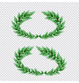 green laurel wreaths transparent set vector image vector image