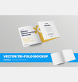 half-open tri-fold template front view standard vector image vector image