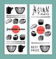 hand drawn asian menu hand vector image vector image
