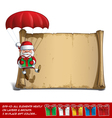 Happy Santa Scroll Parachute Holding a Gifts vector image vector image