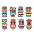hawaiian mask of tiki god wooden african vector image