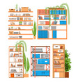 house and office bookshelf bookcase bookrack or vector image