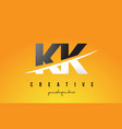 kk k k letter modern logo design with yellow vector image vector image
