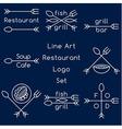 Line art restaurant logo set vector image vector image