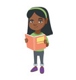 little african-american schoolgirl reading a book vector image