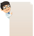 male doctor looking at blank poster vector image vector image