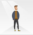 man posing on catwalk during fashion show vector image vector image