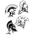 Outline spartan warriors or gladiators heads vector image