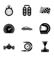 rally icons set simple style vector image vector image