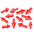 red 3d arrows set of shiny straight signs vector image vector image