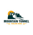 road tunnel logo under mountain vector image