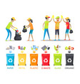 rubbish collecting and allocation banner vector image