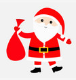 santa claus carrying sack gift bag red hat vector image vector image