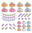 set birthday party pumpkins element designs vector image