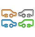 set colorful electrical vehicle icon vector image
