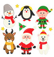 set isolated cute christmas elements vector image