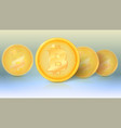 several coins of virtual currency bitcoin with vector image vector image