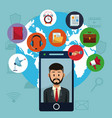smartphone and social media vector image vector image