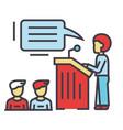 speaker presentation podium tribune stand vector image vector image