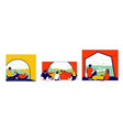 tent view concept tourists characters family vector image vector image