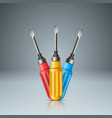 three screwdriver realistic icon on the grey vector image