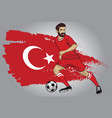 turkey soccer player with flag as a background vector image vector image