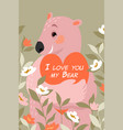 valentines day with cute bear with a heart vector image vector image