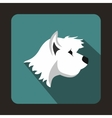 White terrier dog icon flat style vector image vector image