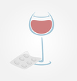 Wine and tablets minimal symbols Headache from vector image