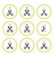 Set round icons of scissors with cut line vector image