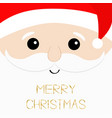 merry christmas text santa claus big head face vector image