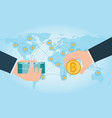 hand holding smartphone with bitcoin and dollars vector image