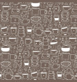 pattern with line hand drawn doodle coffee vector image