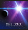 planet shining sun abstract space stars moon vector image