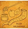 traditional symbols of rosh hashanah vector image