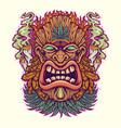 angry tiki leaf weed mascot with cannabis smoke vector image vector image
