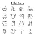bathroom icon set in thin line style vector image