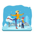 boy with in winter clothes ride on ice good mood vector image vector image