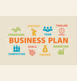 business plan concept with icons vector image vector image